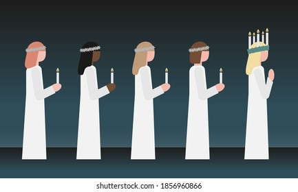 Celebrating Lucia is a swedish tradition the 13th of December, vector illustration.