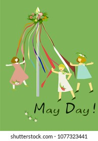 Celebrating the May Day in England. Girls who dance in mayopolis. Vector illustration.