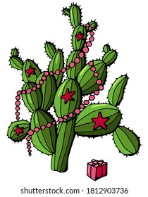 Celebrating the New Year with a cactus. Decorated with a cactus - garlands, stars. White background isolation. Design for postcards.