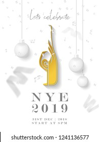Celebrating New Year Eve (NYE 2019) Beautiful Holiday Vector Background with Wine Bottle and Glass