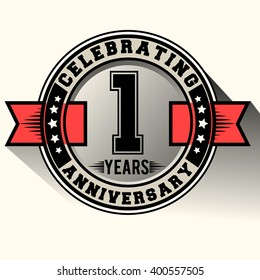 Celebrating one year anniversary logo vintage emblem with red ribbon, Retro vector design isolated on white background