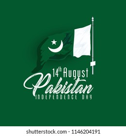 Celebrating Pakistan Independence Day creative vector illustration. 14th August pakistan independence with creative typography.