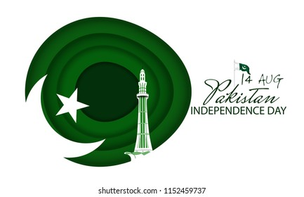Celebrating Pakistan Independence Day creative vector illustration. 14th August pakistan independence with creative typography