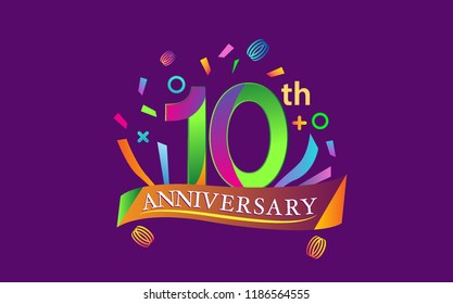 celebration 10th anniversary background with colorful ribbon and confetti. Poster or brochure template. Vector illustration.