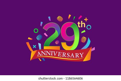 celebration 29th anniversary background with colorful ribbon and confetti. Poster or brochure template. Vector illustration.