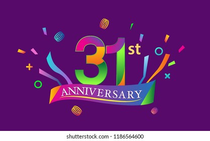 celebration 31st anniversary background with colorful ribbon and confetti. Poster or brochure template. Vector illustration.