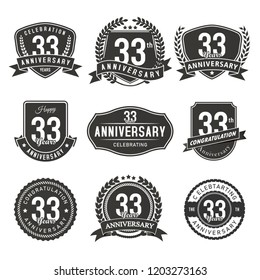 Celebration 33 years anniversary retro badge and labels vector silhouette
