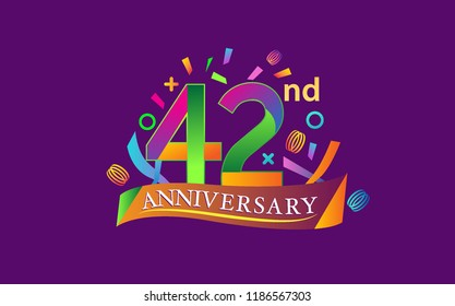 celebration 42nd anniversary background with colorful ribbon and confetti. Poster or brochure template. Vector illustration.