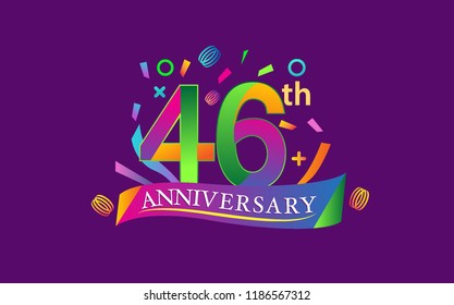 celebration 46th anniversary background with colorful ribbon and confetti. Poster or brochure template. Vector illustration.