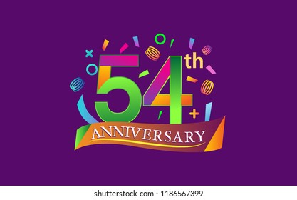 celebration 54th anniversary background with colorful ribbon and confetti. Poster or brochure template. Vector illustration.