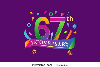celebration 67th anniversary background with colorful ribbon and confetti. Poster or brochure template. Vector illustration.