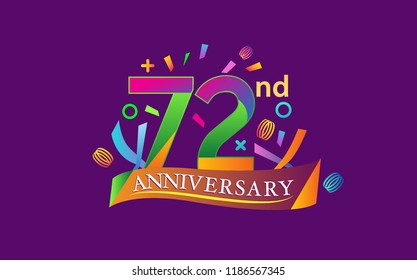 celebration 72nd anniversary background with colorful ribbon and confetti. Poster or brochure template. Vector illustration.