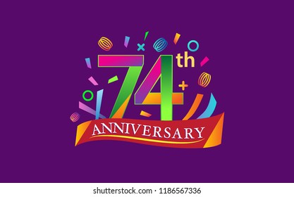 celebration 74th anniversary background with colorful ribbon and confetti. Poster or brochure template. Vector illustration.