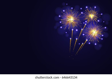 Celebration amazing golden yellow vector fireworks over night sky.  4th of July Independence Day, New Year holidays background