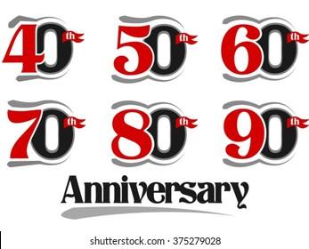 Celebration Anniversary Set - 40th, 50th, 60th, 70th, 80th And 90th Vector Design