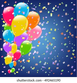 celebration background with balloons and confetti. vector illustration