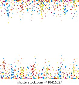 Celebration background with colorful confetti and party ribbons - seamless celebration borders on white background. Vector illustration.