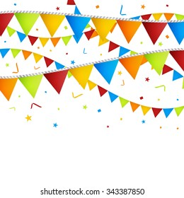 Celebration background with confetti and colorful flags. Vector illustration.