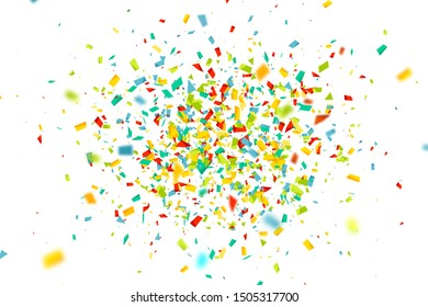 Celebration background with confetti. Holiday illustration with flying colorful particles of paper from cracker on white background