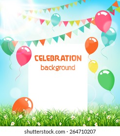 Celebration background with frame buntings air balls grass and sunlight on sky background