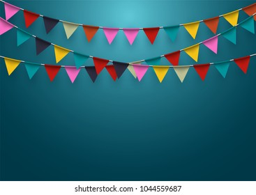 celebration background with garland flag and confetti in party and enjoyment concept.Vector eps10.