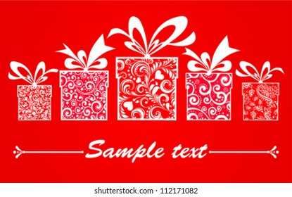 Celebration background with gifts box and place for your text. Vector illustration