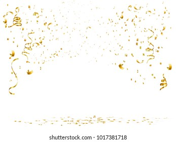 celebration background with gold confetti and gold ribbon