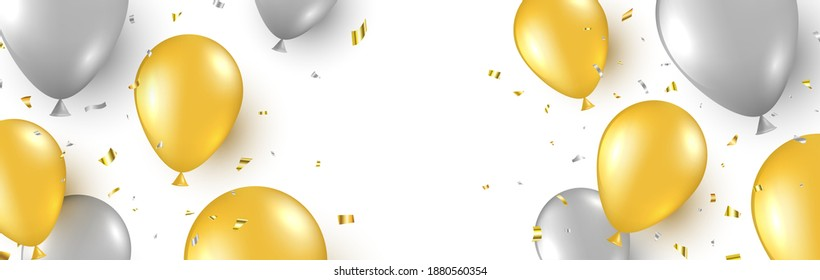 Celebration background with gold and silver balloons and flying confetti. Happy birthday banner. Anniversary party decoration. Golden foil balloon. Grand opening border. Vector illustration.