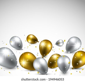 Celebration background with golden and silver balloons. Vector illustration.