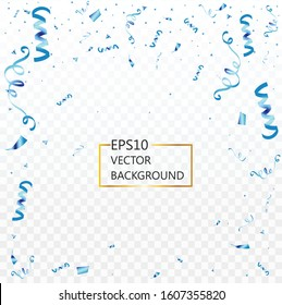 Celebration background party decoration frame template with confetti blue. Isolated on white transparent background. Vector Illustration, eps 10