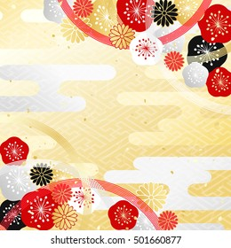 Celebration for the background plum and chrysanthemum and string like decoration of Japanese style