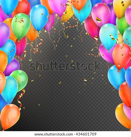 celebration background template balloons confetti red stock vector