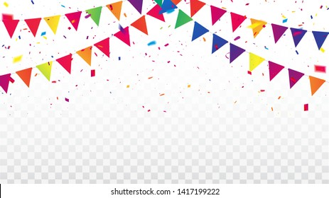 Celebration background template with confetti Colorful ribbons frame. luxury greeting rich card.
