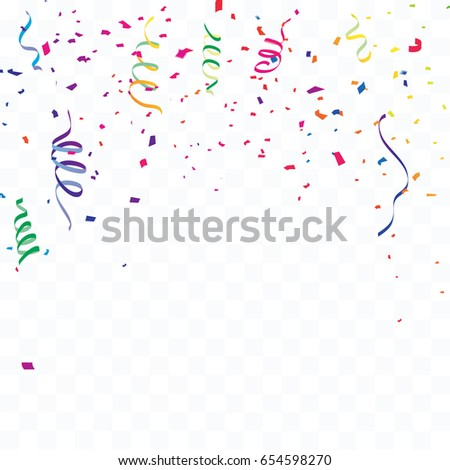 celebration background template confetti colorful ribbons stock