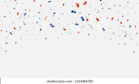 Celebration background template with confetti and red and blue ribbons.