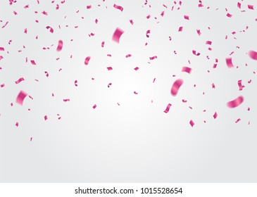 Celebration background template with confetti and ribbons pink