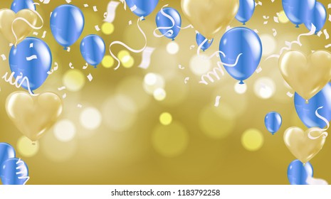 Celebration background template with confetti ribbons illustration. Happy day background with colorful balloons and confetti, illustration.Celebrate brochure or flyer .Happy New Year