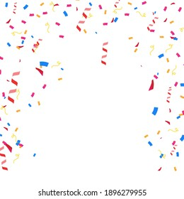 Celebration background template with confetti. Vector illustration