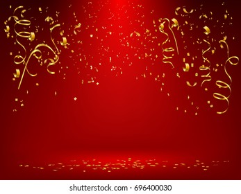Celebration background template with gold  confetti and gold ribbons on red background