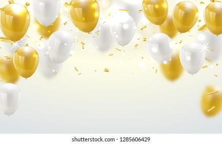 Celebration banner with Gold balloons background. Sale Vector illustration.