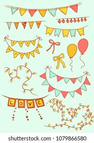 Celebration bunting and garlands