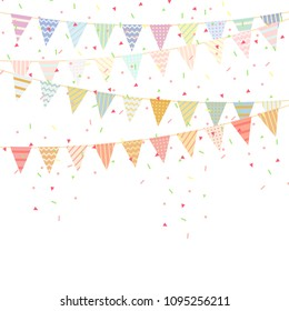 celebration bunting party flags with Confetti And Ribbons on white background.vector illustration