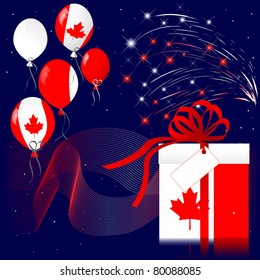 Celebration of Canada Day with fireworks. 10EPS Vector.