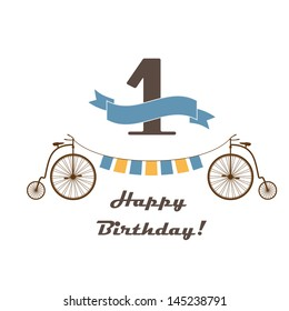 Celebration card for 1st birthday in retro desing