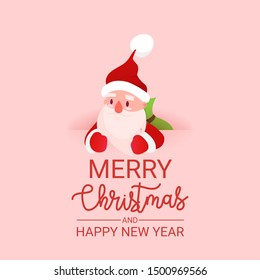 Celebration card for Merry Christmas. Vector illustration. Holiday concept in flat style. Christmas Santa Claus with gift bag. Happy New Year banner. - Vector