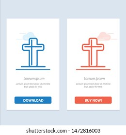 Celebration, Christian, Cross, Easter  Blue and Red Download and Buy Now web Widget Card Template