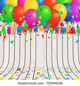 Celebration colorful background vector illustration with balloons and confetti on wooden floor.