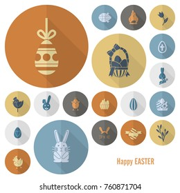 Celebration Easter Icons. Vector. Clean Work Minimum Points