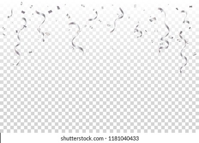 Celebration Event & Birthday Background With Many Falling Silver Tiny Confetti And Streamer Ribbon. Vector Illustration