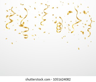 Celebration Event Or Party & Happy Birthday Background With Many Falling Golden Confetti And Ribbon. Vector Illustration